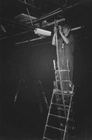 adam begins hanging the ropes for the deirdre of the sorrows set
