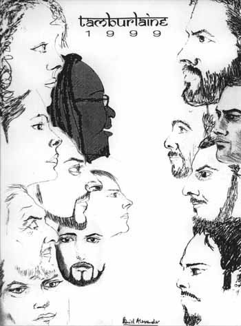 david alexander's sketch of the tamburlaine cast (he's the one looking straight at you)